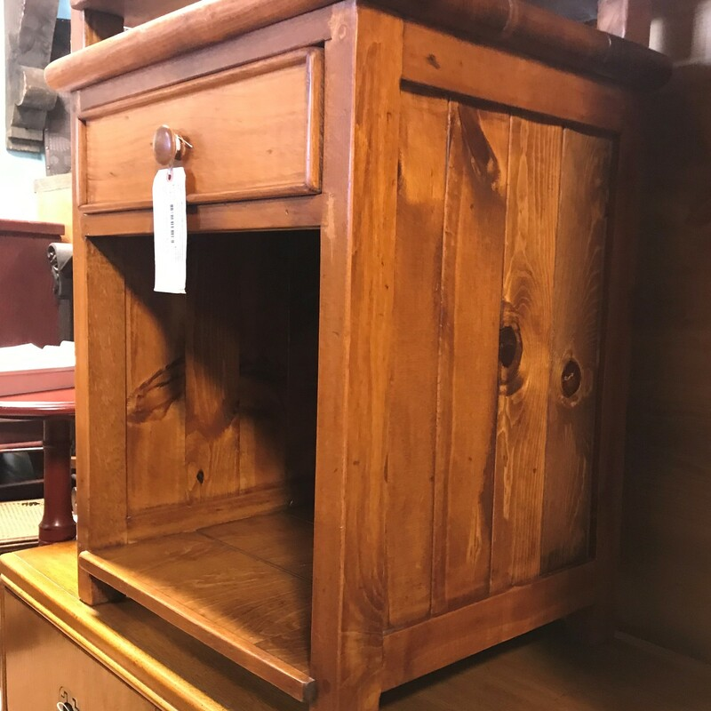 "Bedside Table, Dark Pine, 1 Drawer<br /> Size: 26"" x 22\"" x 17\"""