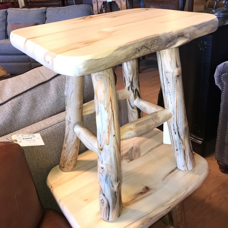 "Handmade Log Side Table, Pine, Bedside?<br /> Size: 24"" x 24\"" x 18\"""