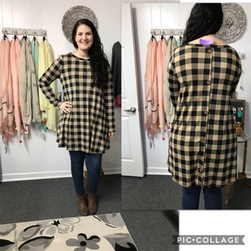 Merie looks amazing in our Mocha Button Back Checker W/ Pockets Dress. The material is super soft made of 92% Polyester 8% Spandex with a length of 35in.