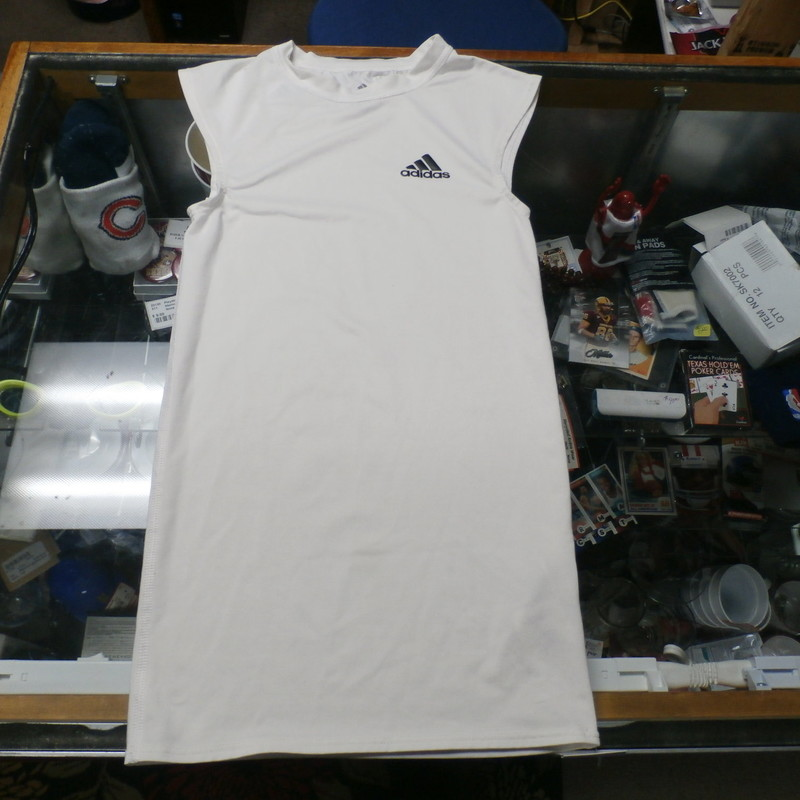 "Adidas YOUTH sleeveless white athletic shirt size Small polyester blend #27285<br /> Rating: (see below) 3- Good Condition<br /> Team: n/a<br /> Player: n/a<br /> Brand: Adidas<br /> Size: YOUTH Small- (Measured Flat: Across chest 12""; Length 24"")<br /> Measured Flat: underarm to underarm; top of shoulder to bottom hem<br /> Color: white<br /> Style: sleeveless; screen printed<br /> Material: 88% polyester 12% spandex<br /> Condition: 3- Good Condition: minor wear and discoloration from use (see photos)<br /> Item #: 27285<br /> Shipping: FREE"