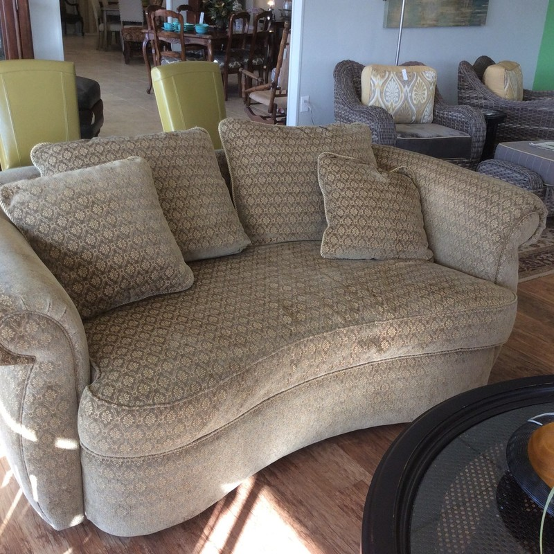 Sweeeet! This diminutive little sofa by Flair, which is a division of Bernhardt  is unique and beautiful.  It's been crafted to deliver many years of comfort and performance. Upholstered in a green/gold patterned fabric it is neutral enough to fit many different styles and decor. Best of all, we have 2 of them!