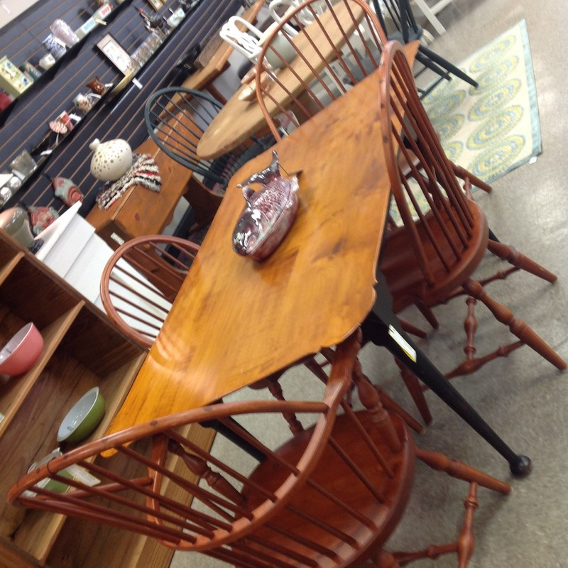 6 Windsor Chairs 2 W/Arms, Cherry, Size: None