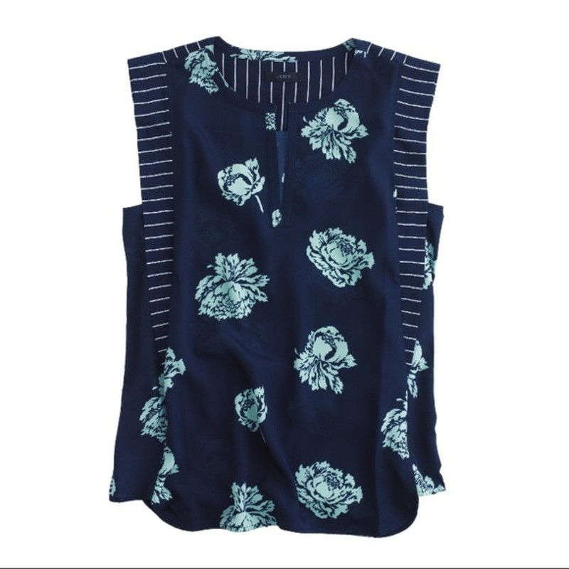 J. Crew EUC Graphic peony top in navy and aqua, size 2.<br /> <br /> &quot;Our newest fabric is the best kind of easy: drapey with just the right amount of texture. What makes it even better? A graphic peony print, trimmed in stripes and in a silhouette that&#039;s borderline tunic territory (read: perfect for spring).<br /> <br />     Poly.<br />     Front slit.<br />     Machine wash.&quot;<br /> <br /> photo and description credits: jcrew.com