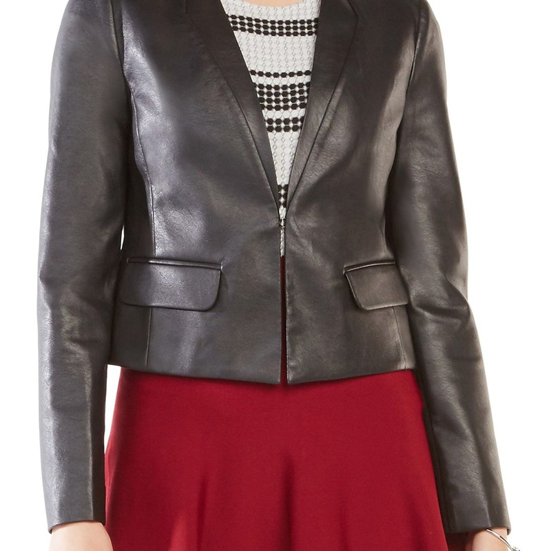 BCBG like new condition Cruz Leather Jacket, Black, Size: Small<br /> <br /> &quot;An essential for all-season layering, this blazer-style faux-leather jacket has a posh lapel-stitched neck, slight peplum waist and stretchy ponte-knit panels that allow for more freedom of movement.<br /> <br />     Front hook-and-eye closure.<br />     Plunging V-neck.<br />     Long sleeves.<br />     Faux front flap pockets.<br />     Lined.<br />     100% polyurethane faux leather; 65% rayon, 30% nylon, 5% spandex ponte.<br />     Dry clean.<br />     By BCBGMAXAZRIA; imported.&quot;<br /> <br /> Photo and description credits: nordstrom.com