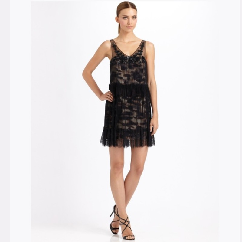 BCBG MAXZARIA Gilly Tiered Lace Cocktail Dress 6 like new condition.