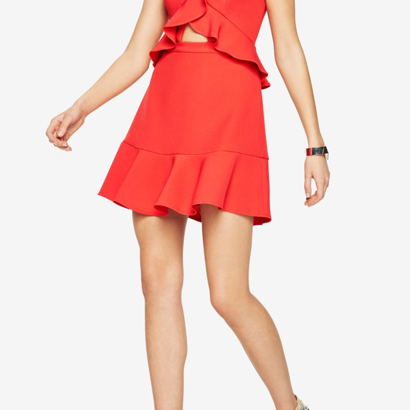 BCBG Careen Ruffled Cutout Dress in great condition, worn once.  Size 6 Orig. rtl: $268<br /> <br /> &quot;Make a statement with ruffles in this stretch-crepe silhouette, detailed with a skin-baring front cutouts and a flounce drop-waist.<br /> <br />     Concealed back zipper closure<br />     Fabric: 90% polyester, 10% spandex crepe; lining: 100% polyester crepe de chine<br />     Washable<br />     Imported&quot;<br /> <br /> photo and description credits: bcbg.com