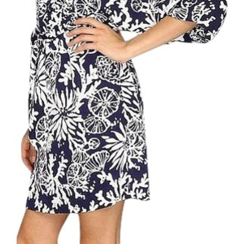 Lilly Pulitzer Bright Navy Wilda Caftan Mini Cocktail Dress size med
