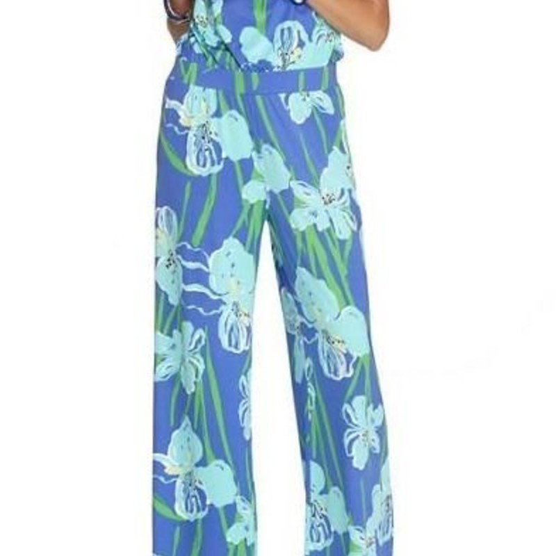 Lilly pulitzer Kourtney Strapless Jumpsuit in periwinkle blue Iris print size M EUC
