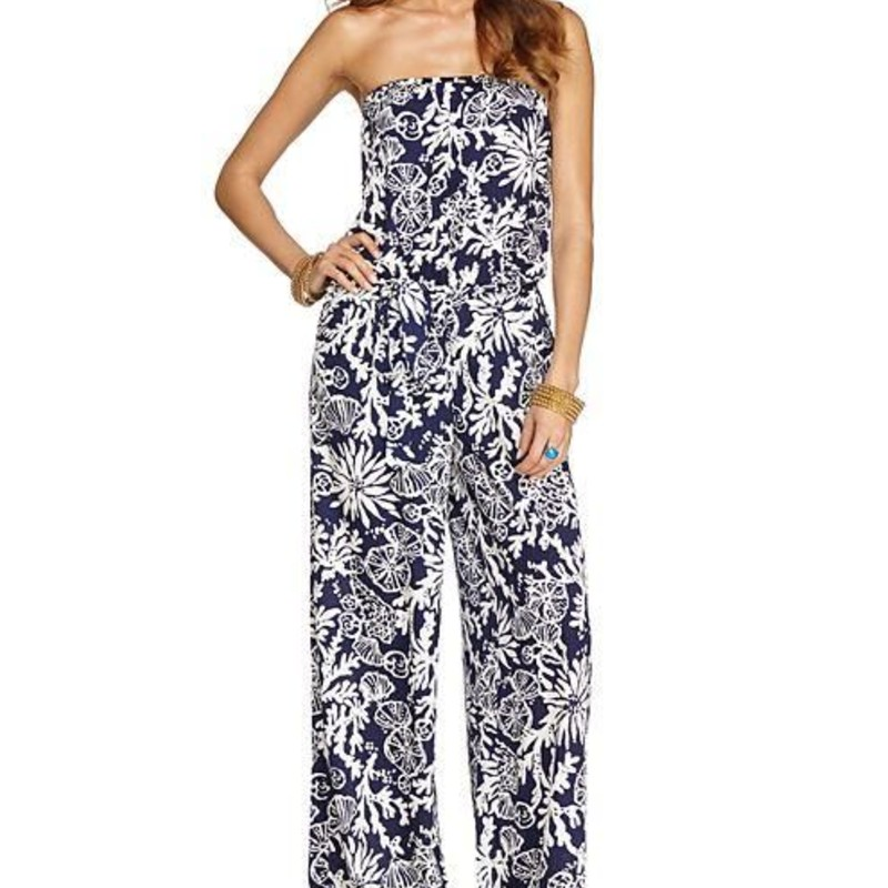 Lilly Pulitzer Farrah Jumpsuit in Bright Navy In The Groove EUC size small