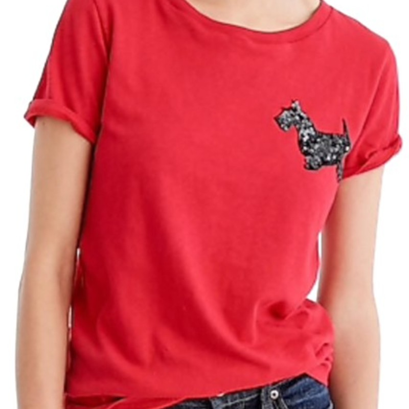 J.Crew Red Sequin Terrier T-Shirt