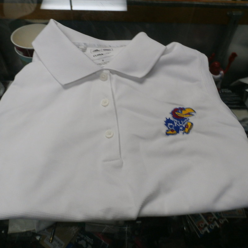 "Adidas Kansas Jay Hawks White Women's Polo Shirt Size Small Polyester  #28705<br /> Rating: (see below) 3- Good Condition<br /> Team: Kansas Jay Hawks<br /> Player: Team<br /> Brand: Adidas<br /> Size: Small - Women's(Measured Flat: across chest 17"", length 22"")<br /> Measured flat: armpit to armpit; top of shoulder to the bottom hem<br /> Color: White<br /> Style: women's polo; sleeveless; embroidered; collared with buttons<br /> Material: 100% Polyester<br /> Condition: 3- Good Condition - wrinkled; Minor Pilling and Fuzz; stains around the neck mostly interior of the shirt;<br /> Item #: 28705<br /> Shipping: FREE"