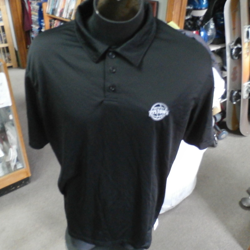 "Detroit Pistons black Holloway polo shirt size XL polyester #28843<br /> Rating: (see below) 2- Great Condition<br /> Team: Detroit Pistons<br /> Player: n/a<br /> Brand: Holloway<br /> Size: Men's XLarge- (Measured Flat: Across chest 25""; Length 29"")<br /> Measured Flat: underarm to underarm; top of shoulder to bottom hem<br /> Color: black<br /> Style: short sleeve; embroidered<br /> Material: 100% polyester<br /> Condition: 2- Great Condition: minor wear; some small snags (see photos)<br /> Item #: 28843<br /> Shipping: FREE"