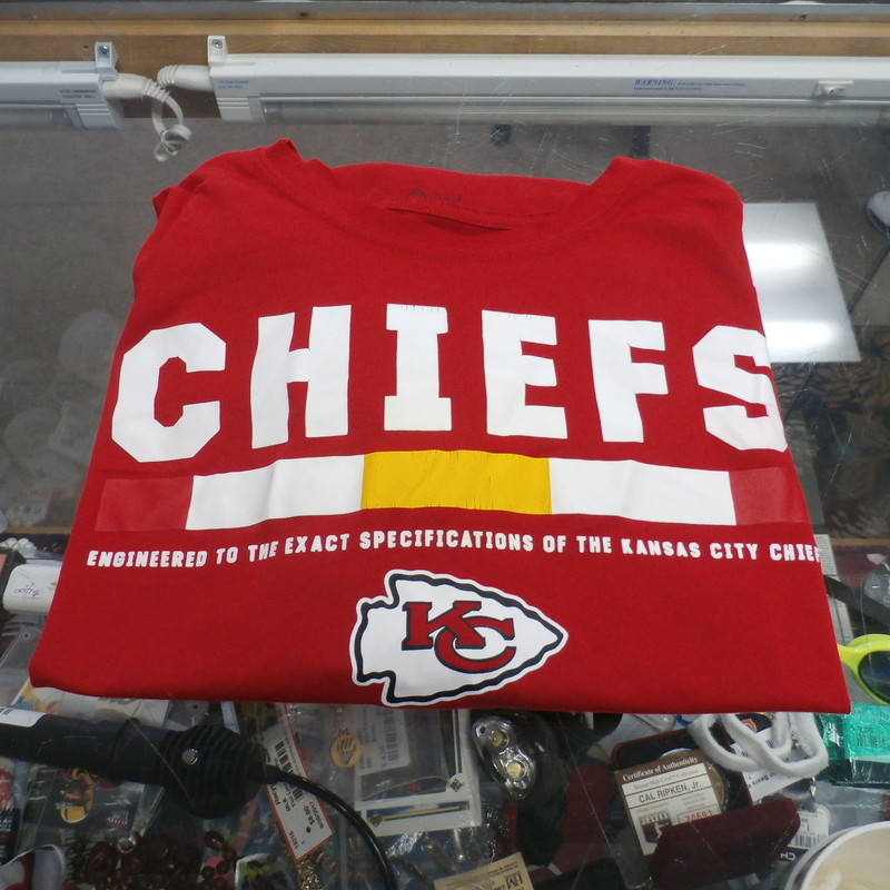 "Nike Kansas City Chiefs Red Size XL Men's T-Shirt Polyester #28989<br /> Rating:   (see below) 4- Fair Condition<br /> Team: Kansas City Chiefs<br /> Player: Team<br /> Brand: Nike<br /> Size: Men's XL- (Chest 20"", length 26"";)<br /> Color: Red<br /> Style: Screen Pressed T-Shirt<br /> Material: 100% Polyester<br /> Condition: 4- Fair Condition- wrinkled; Minor pilling and Fuzz; Logo has cracks in it; small white staining on the back; Has A W Written in Black on the neckline<br /> Item #: 28989<br /> Shipping: FREE"