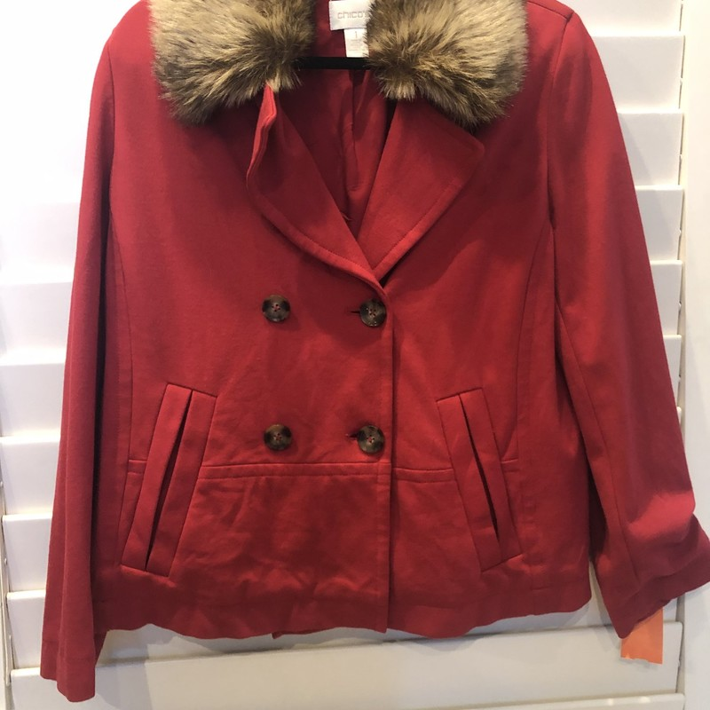 Chicos Faux Fur Red Jacke, Red, Size: Medium-large<br /> (chicos size 1)