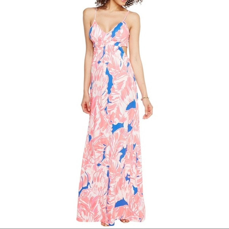 Lilly Pulitzer Women&#039;s Linley Maxi Dress. Like new condition, orig. rtl: $198<br /> <br /> &quot;The Lilly Pulitzer Linley Maxi Dress has cut out sides with adjustable straps.<br /> <br /> FEATURES:<br /> Printed Strappy Maxi Dress With Cutout At Side Seams And Removable Bra Cups.<br /> 61 From Top Of Shoulder To Hem.<br /> Rayon Spandex Jersey - Printed (96% Rayon, 4% Spandex).<br /> Hand Wash Cold. Separately.&quot;<br /> <br /> Photo and description credits: saintbernard.com