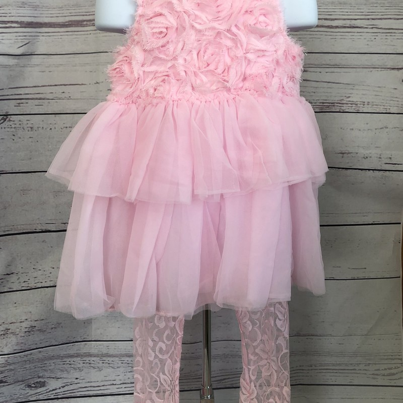 Mud Pie 2 piece outfit. Sleeveless tunic/dress with lace leggings with ruffles on the bottom of the leg!  Super cute outfit!