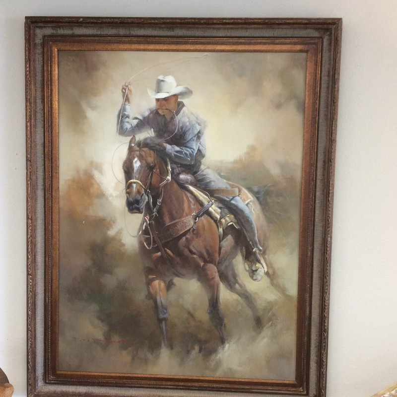 This oil painting appears to be an original, by an undetermined artist. In fact, the original owner of this piece claims to have paid almost $4000 for it! Stop by and see it for yourself.