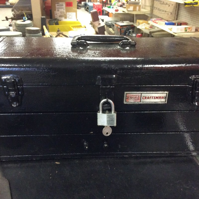 Vintage Craftsman 2-Drawer Portable Tool Box with Lock and Key