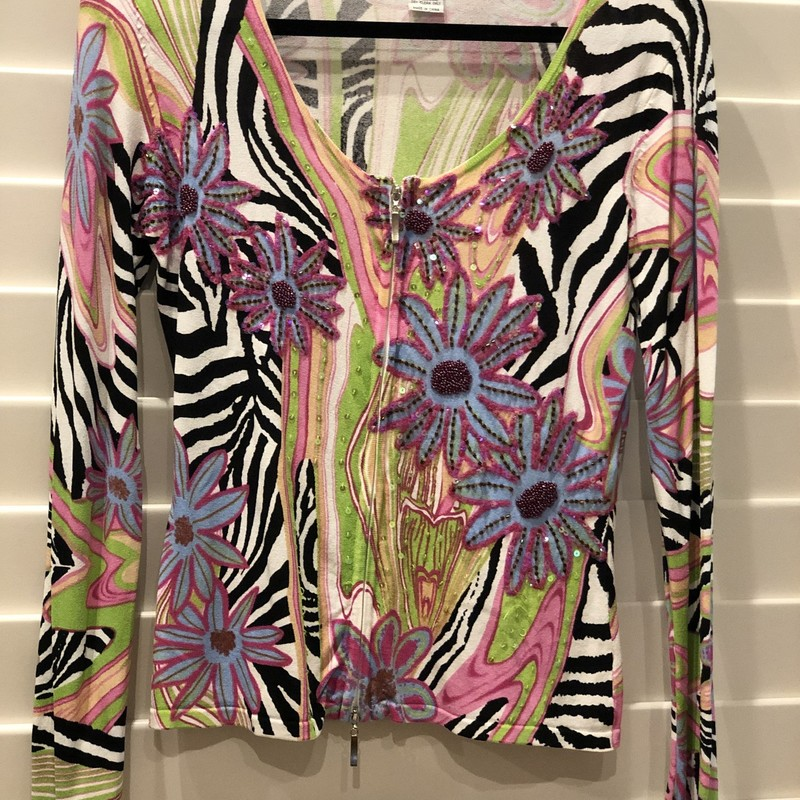 Cardigan By Alberto Makal, Black and white zebra with green, pink and blue florals and clear sequins, Silver zipper.  Good condition.
