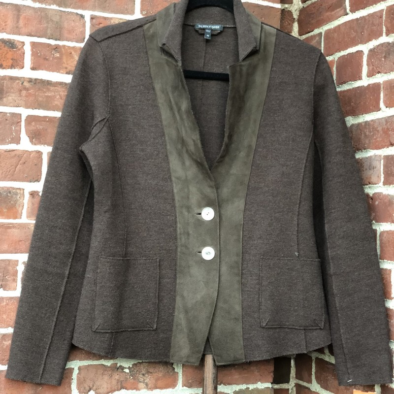 Eileen Fisher, Brown, Size: Xs<br /> Brown wool knit with suede detail. Beatiful construction. Has a tailored look.