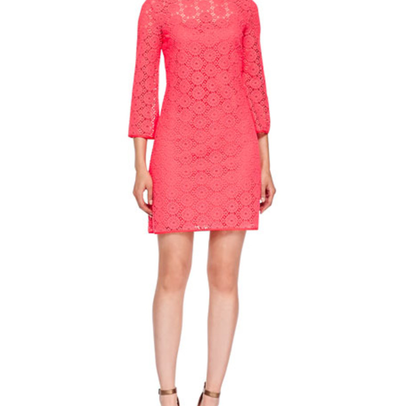 Lilly Pulitzer Women&#039;s Topanga Tunic Dress, Island Coral/Breakers Lace size XXS<br /> <br /> &quot;<br />     100% Micro Polyester<br />     Imported<br />     Machine Wash<br />     Boat-neck shift dress with three-quarter sleeves featuring tonal crochet overlay and scoop back opening<br />     Measures 18&quot; from natural waist to hem&quot;<br /> <br /> Photo and description credits: amazon.com