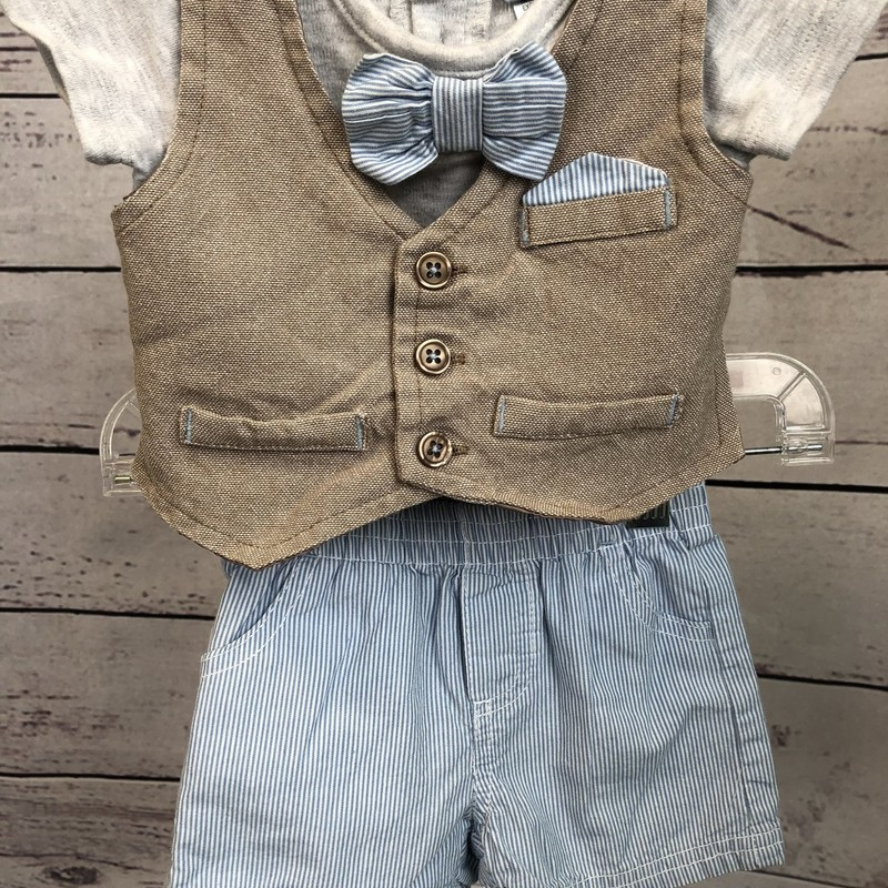 This Little Lad 2 piece outfit is so handsome! The bow tie is attached to the shirt and how handsome are the stripes on the shorts.