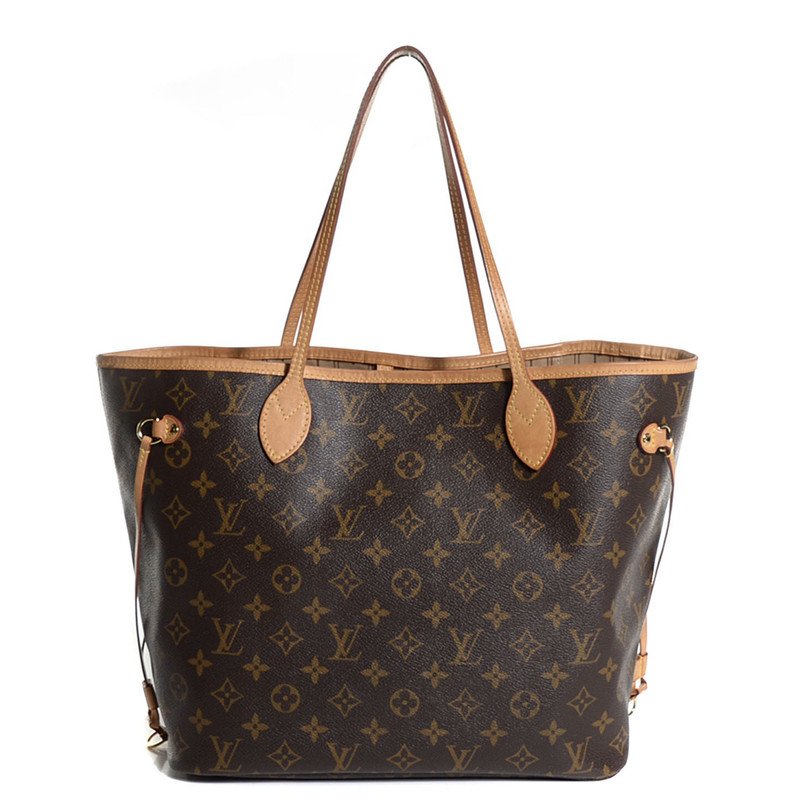 Louis Vuitton Neverfull M, Brown, Size: MM<br /> some wear inside, tanning on straps and one loose stich on strap.