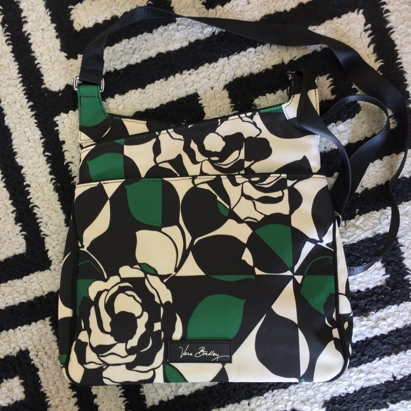 Cute, Vera Bradley Crossbody. Green, black and ivory exterior. Gently used, very spacious. Retail: $68