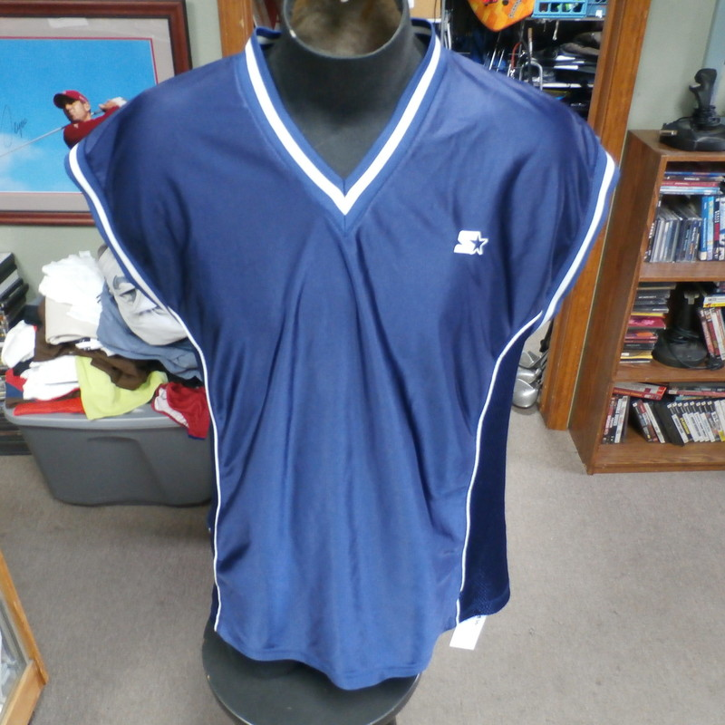 "Starter basketball jersey blue size Large 100% polyester #29394<br /> Rating: (see below) 3- Good Condition<br /> Team: n/a<br /> Player: n/a<br /> Brand: Starter<br /> Size: Men's Large- (Measured Flat: Across chest 24""; Length 30"")<br /> Measured Flat: underarm to underarm; top of shoulder to bottom hem<br /> Color: blue<br /> Style: sleeveless<br /> Material: 100% polyester<br /> Condition: 3- Good Condition: several small snags; minor wear from use; light fading mark on left shoulder (see photos)<br /> Item #: 29394<br /> Shipping: FREE"