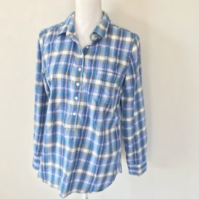 J. Crew Plaid Popover Shirt In Flannel In Perfect Fit in blue size small Orig. rtl: $69.98