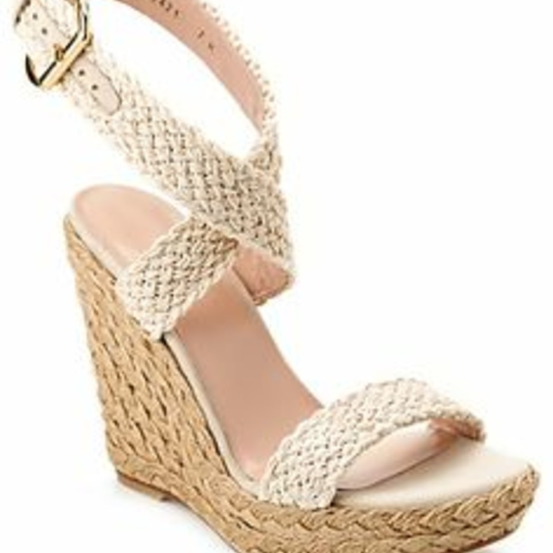 "Stuart Weitzman Alex Espadrille Wedges bone Orig. rtl: $398 like new, never worn condition.<br /> <br /> ""Stuart Weitzman Made In Spain Crochet Strappy Espadrille Wedge Sandal Slightly Adjustable Ankle Strap With Gold-Tone Buckle Closure Approximate 5.25in Jute-Wrapped Wedge With 1.25in Platform"""