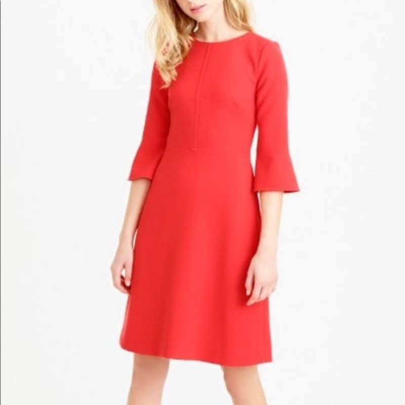 J. Crew Bell Sleeve Crepe Dress, Maraschi, Size: 6<br /> <br /> &quot;A polished dress that&#039;s perfect for work and everything else. It&#039;s crafted from our popular crinkle crepe fabric with stylish details like bell sleeves and an exposed zip at the back.<br /> <br />     Poly/viscose/elastane.<br />     Back zip.<br />     Lined.<br />     Dry clean<br />     A-line silhouette.<br />     Falls above knee, 37 3/4&quot; from high point of shoulder (based on size 6).&quot;<br /> <br /> Photo and description credits: jcrew.com