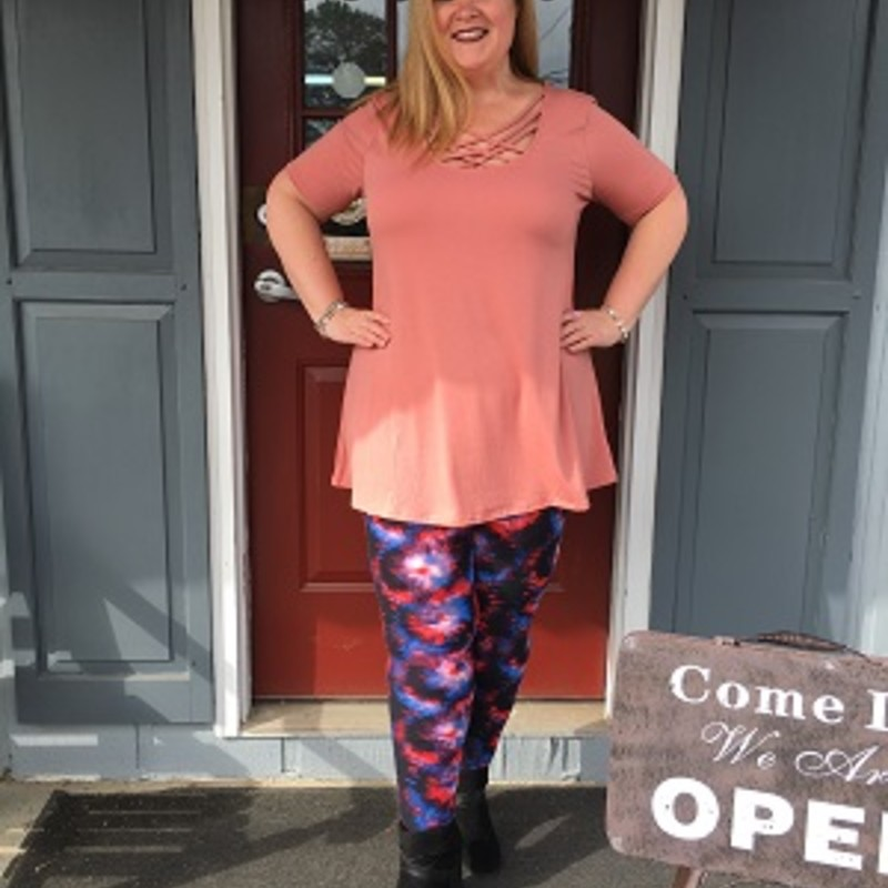 Tonya looks gorgeous in our Dark Rose Zenana Triple Lattice Top. This top is very unique and would look great for any occasion. The material is made of 55% Polyester 40% Rayon 5% Spandex with a length of 32.5in.