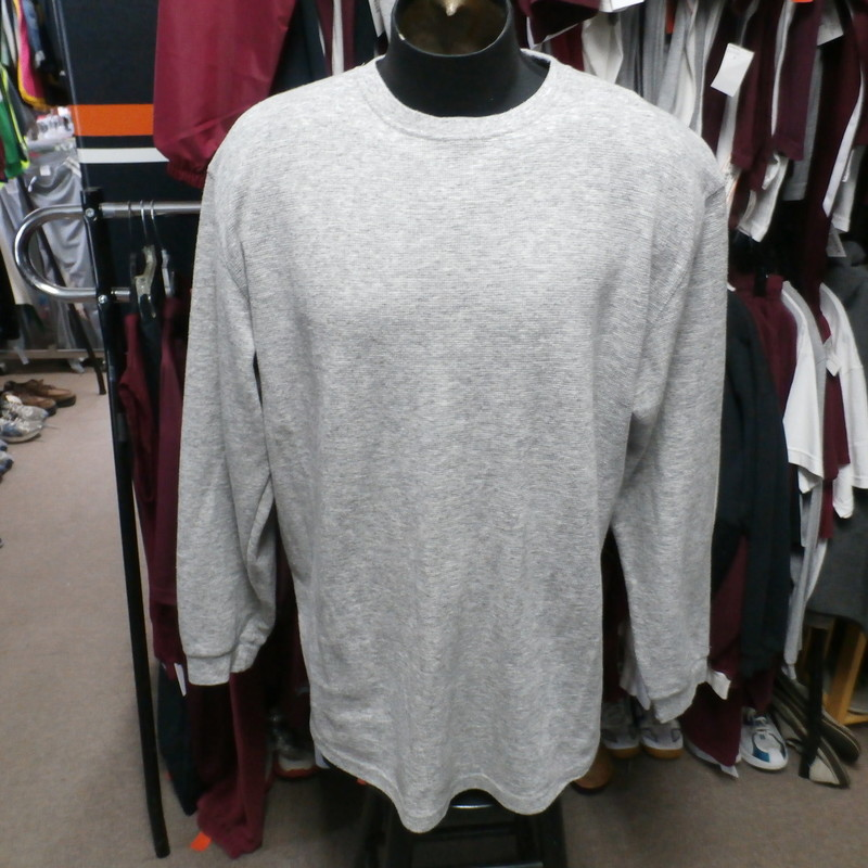 "Champs Sports Gear Men's Thermal Long Sleeve shirt gray 3XL cotton blend #27703<br /> Rating: (see below) 2- Great Condition<br /> Team: n/a<br /> Player: n/a<br /> Brand: Champs Sports Gear<br /> Size:  Men's 3XL (Measured Flat: Across chest 26""; Length 32"")<br /> Measured Laying Flat: armpit to armpit; top of shoulder to bottom hem<br /> Color: Gray<br /> Style: long sleeve; thermal; crew<br /> Material: 60% Cotton; 40% polyester<br /> Condition: 2- Great Condition: wrinkled; minor pilling and fuzz; small brown stain on the front<br /> Item #: 27703<br /> Shipping: FREE"