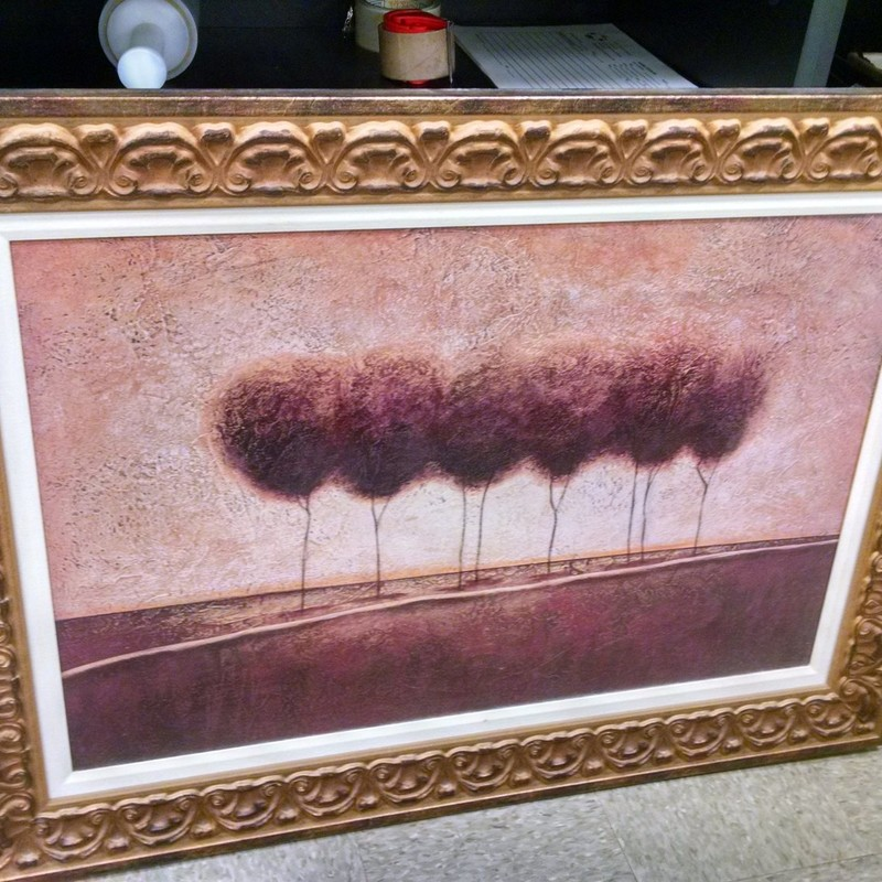 Large Modern Tree Print, Gold, Size: 45x34