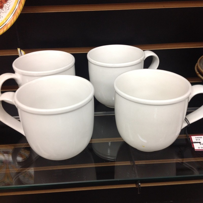 2 Crate/Barrel Mugs, White, Size: 4 Inch
