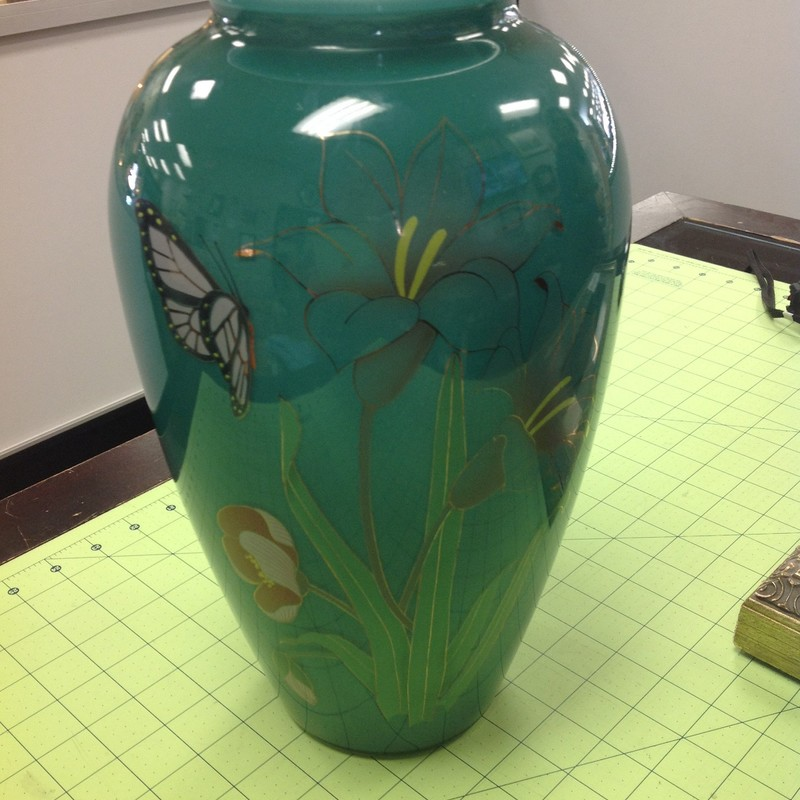 Asian Glass Urn Vase, Green, Size: 13 Inch