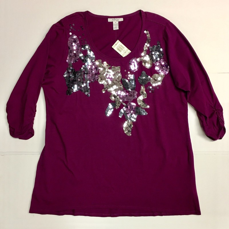 "Style & Co Top With Sequins<br /> Color: Purple<br /> Size: 1X<br /> <br /> Approximate Measurements:<br /> Shoulder-to-Shoulder: 16""<br /> Across Bottom: 26""<br /> Underarm-to-Underarm: 23.5""<br /> Underarm to bottom of Sleeve: 12""<br /> Shoulder to bottom of Sleeve: 18.5""<br /> (note: bottom of sleeves are scrunched)<br /> Front of Collar to Bottom: 23""<br /> Back of Collar to Bottom: 30""<br /> <br /> Please see pictures for material and laundering info."