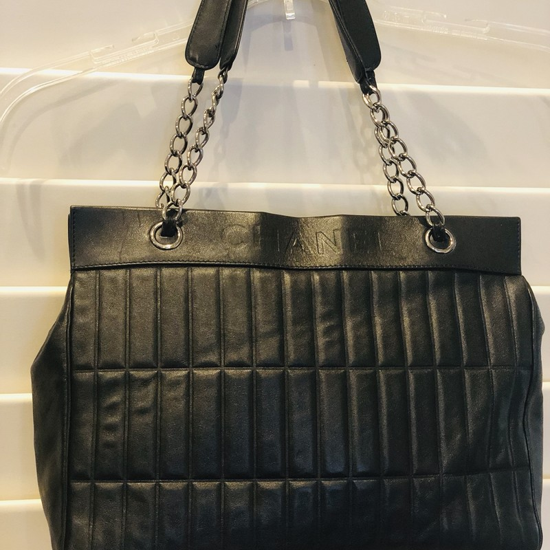Chanel Tote- Redyed, Black, Size: .Chanel<br /> This gorgeous vintage Chanel was recently redyed for years of enjoyment. Inside was also professionally cleaned!