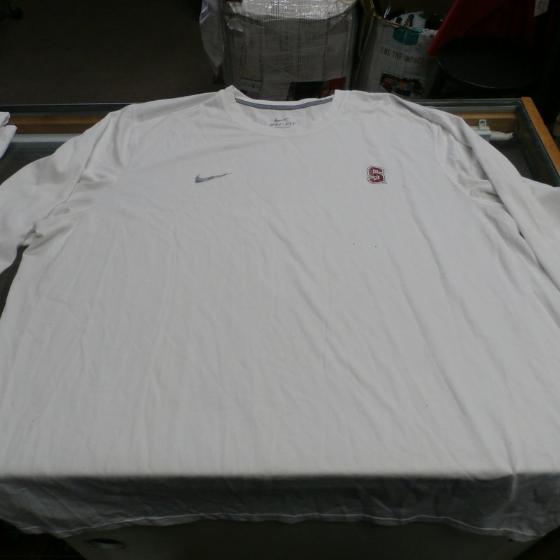 "Stanford Cardinal LS, White, Size: XL<br /> Nike Men's Stanford Cardinal long sleeve shirt white size XL polyester #28696<br /> Rating: (see below) 4- Fair Condition<br /> Team: Stanford Cardinal<br /> Player: N/A<br /> Brand: Nike<br /> Size:  Men's XL  (Measured Flat: Across chest 26""; Length 30"")<br /> Measured Laying Flat: armpit to armpit; top of shoulder to bottom hem<br /> Color: White<br /> Style: Long sleeve shirt; Screen pressed<br /> Material: 100% Polyester<br /> Condition: 4- Fair Condition: wrinkled; pilling and fuzz; discoloration from use; some light staining on front and sleeves; Nike logo is peeling off;<br /> Item #: 28696<br /> Shipping: FREE"