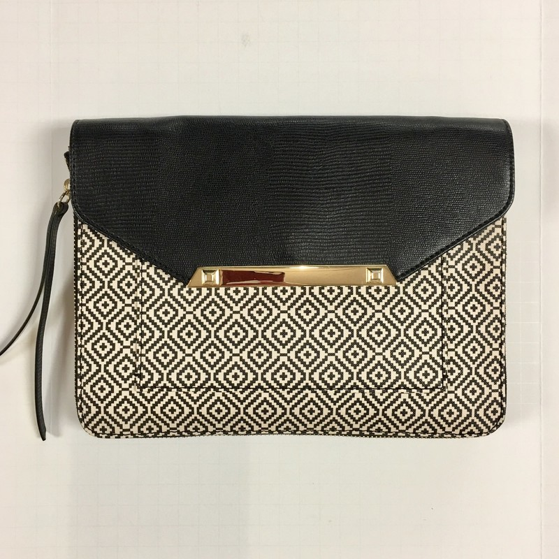 NWOT Stella &amp; Dot Clutch with Crossbody Strap. So cute, inside &amp; out! (see the photos)<br /> -Material: Faux Leather Gold Tone Hardware<br /> Features:<br /> -Flap with snap closure<br /> -Front pocket concealed by the flap<br /> -Interior zippered pocket<br /> -Removable Shoulder/Crossbody Strap<br /> -Unzipper all around to expand the depth to 1.5&quot;<br /> Measures: 10&quot; wide, 7.5&quot; high, 13/16&quot; deep, before expanding depth.