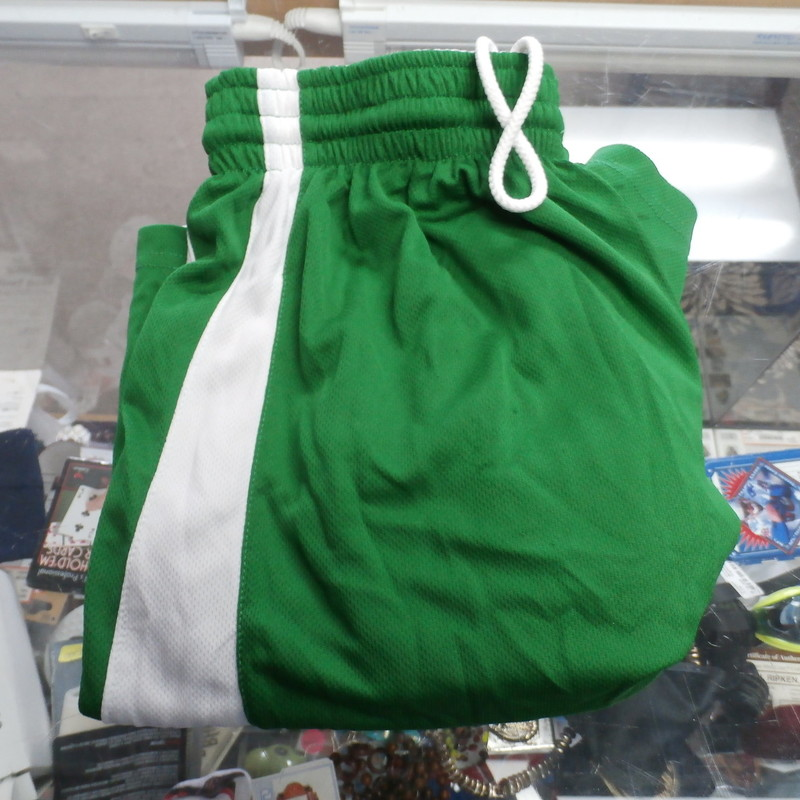 Alleson Men&#039;s reversible  Athletic shorts Green/white size Medium poly #27329<br /> Rating: (see below) 4- Fair Condition<br /> Team: n/a<br /> Players: n/a<br /> Brand: Alleson<br /> Size: Men&#039;s  medium (Measured Flat: waist 13&quot;; Length 19&quot;; inseam 8&quot;)<br /> Color: Green/White<br /> Material: 100%polyester<br /> Style: athletic shorts; Reversible;<br /> Condition: 4- Fair Condition: wrinkled; minor pilling and fuzz; some stretching at waist from wear; on the white of shorts there are multiple small stains throughout front and back; few small snags;<br /> Item #27329<br /> Shipping: FREE