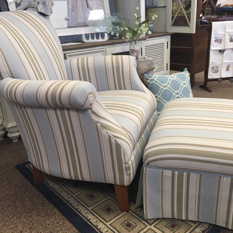 Blue and cream striped chair with matching ottoman in fantastic shape!