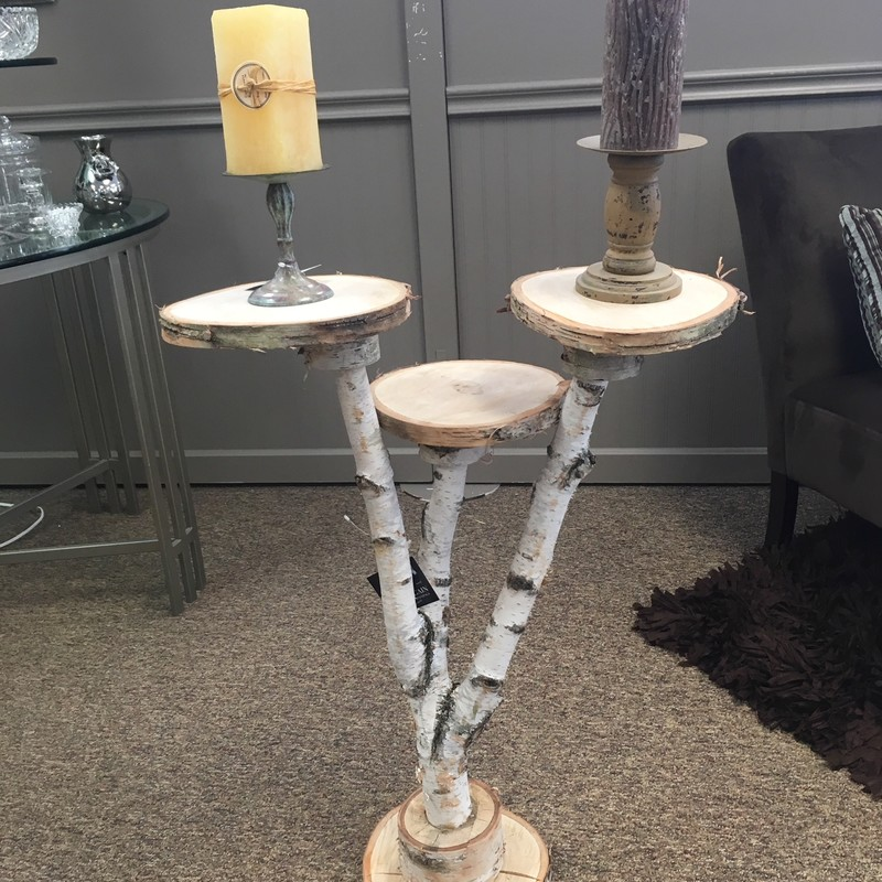3 Tier Natural Birch table made by a local artisan.  Come in to see it in person.