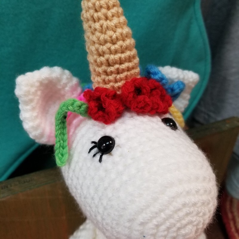 Unicorn-Crocheted. 16 inches from horn to feet. Hancrafted.