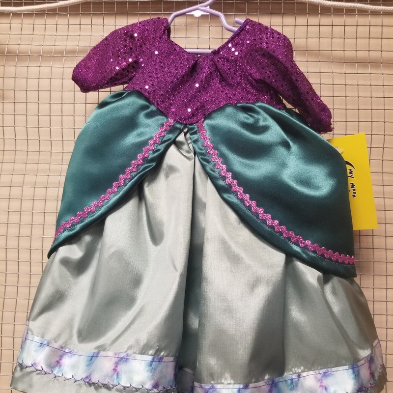 Ariel Dress for  18 inch doll. Velcro back for easy changing.