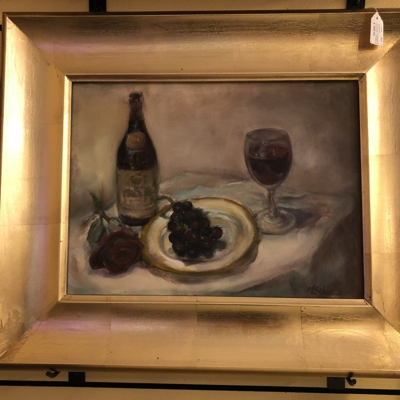 "Framed original painting of wine and grapes<br /> Framed Size: 23.5""L x 19.5""W"