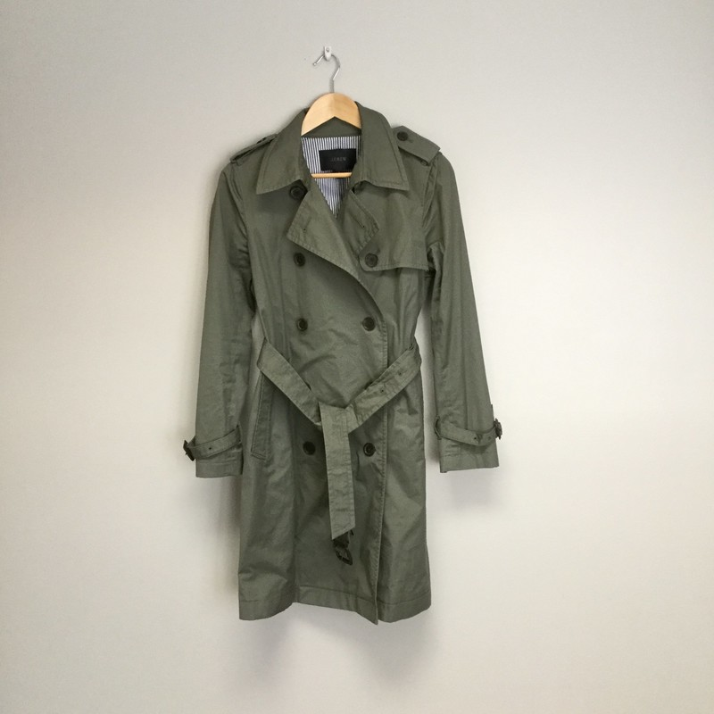 JCrew Long Trench Coat<br /> Size 6<br /> Olive<br /> $134.00