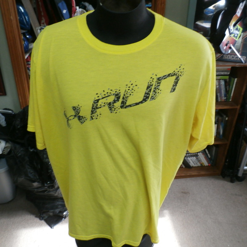 "Under Armour Run Heat Gear yellow athletic shirt size 2XL 100% polyester #29822<br /> Rating: (see below) 3- Good Condition<br /> Team: n/a<br /> Player: n/a<br /> Brand: Under Armour<br /> Size: Men's XXLarge- (Measured Flat: Across chest 27""; Length 29"")<br /> Measured Flat: underarm to underarm; top of shoulder to bottom hem<br /> Color: yellow<br /> Style: short sleeve; screen printed<br /> Material: 100% polyester<br /> Condition: 3- Good Condition: minor wear from use; fuzz (see photos)<br /> Item #: 29822<br /> Shipping: FREE"