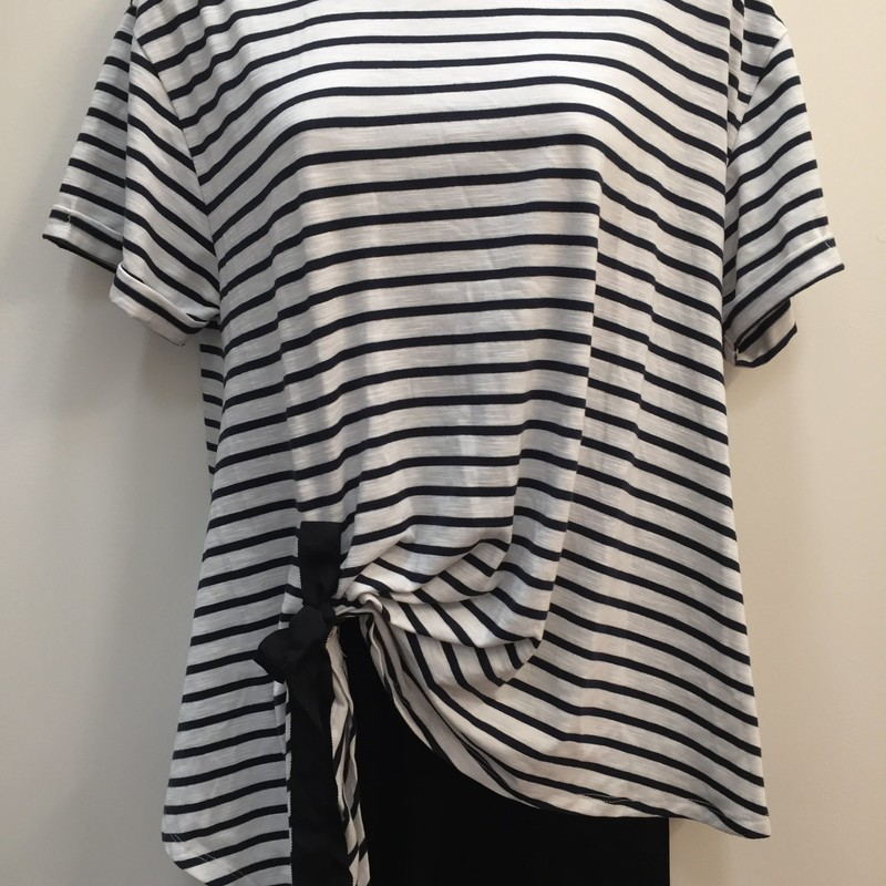 Rain+Rose Striped Top, Navy Cream, Size: Medium